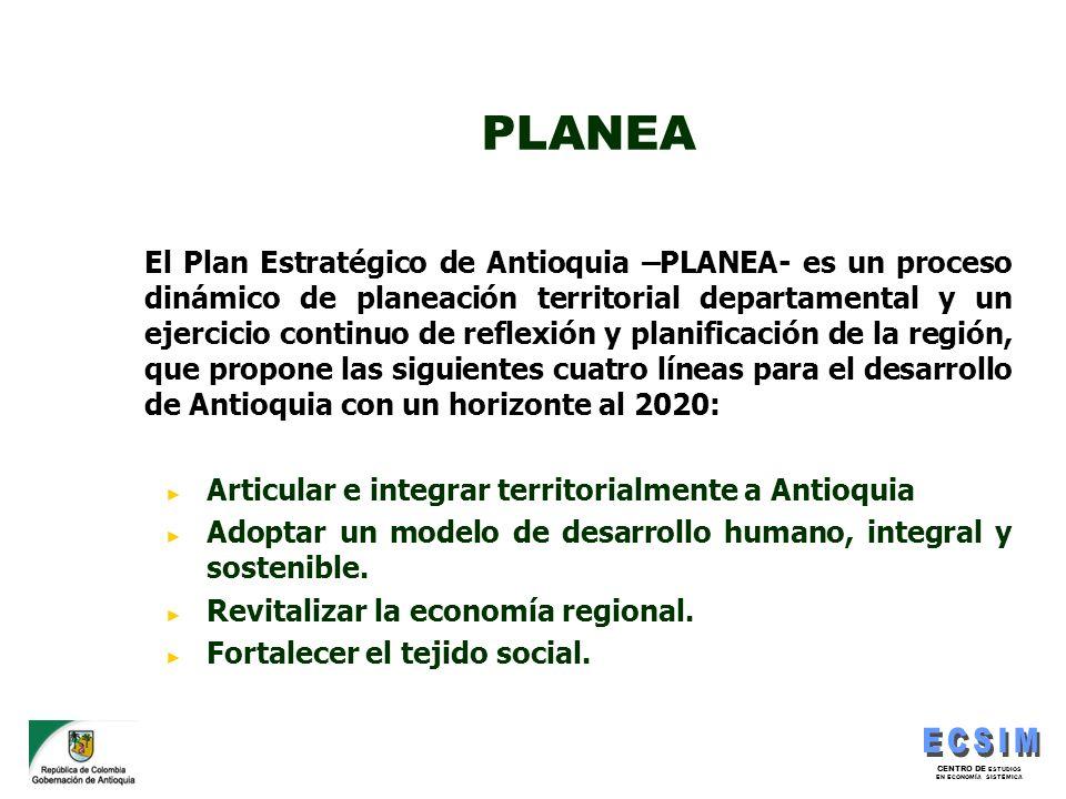 CENTRO DE ESTUDIOS EN ECONOMÍA SISTÉMICA PLANEA El Plan Estratégico de Antioquia –PLANEA- es un proceso dinámico de planeación territorial departament