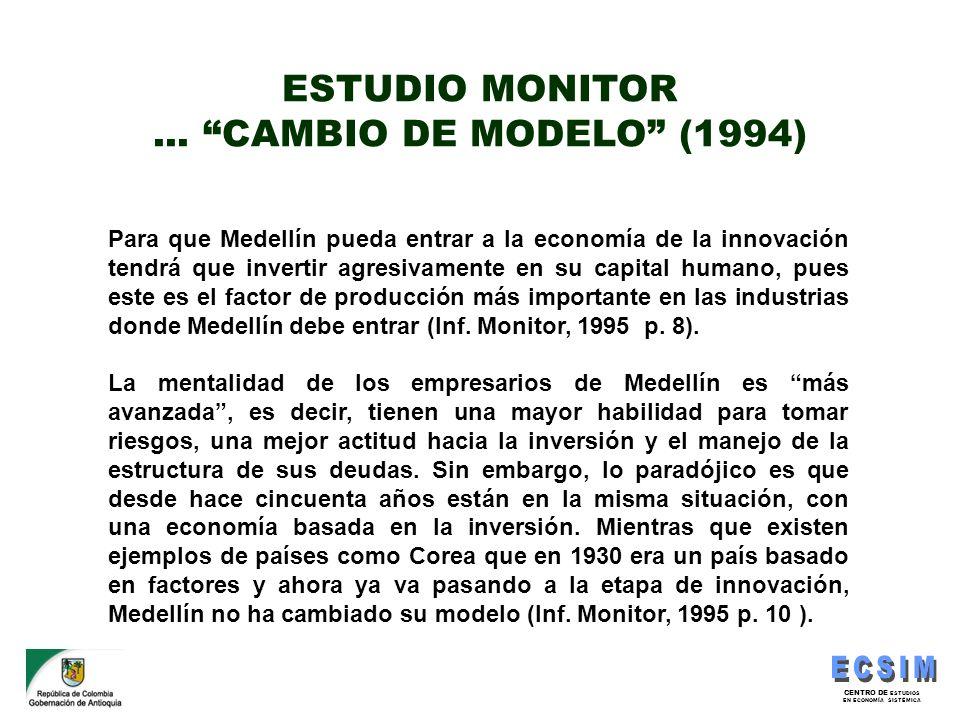 CENTRO DE ESTUDIOS EN ECONOMÍA SISTÉMICA Para que Medellín pueda entrar a la economía de la innovación tendrá que invertir agresivamente en su capital