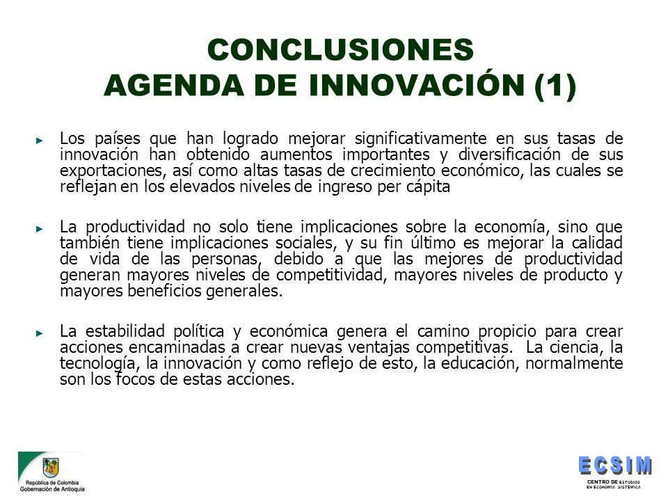 CENTRO DE ESTUDIOS EN ECONOMÍA SISTÉMICA CONCLUSIONES AGENDA DE INNOVACIÓN (1) Los países que han logrado mejorar significativamente en sus tasas de i