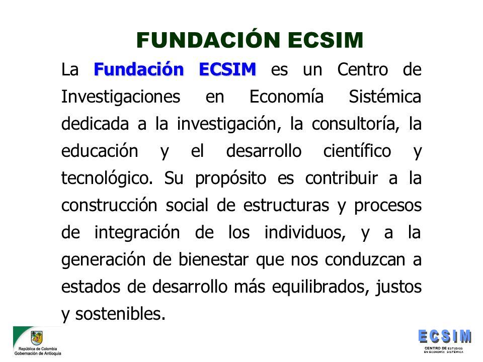 CENTRO DE ESTUDIOS EN ECONOMÍA SISTÉMICA FUNDACIÓN ECSIM Fundación ECSIM La Fundación ECSIM es un Centro de Investigaciones en Economía Sistémica dedi