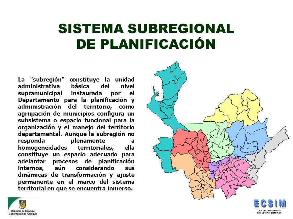 CENTRO DE ESTUDIOS EN ECONOMÍA SISTÉMICA SISTEMA SUBREGIONAL DE PLANIFICACIÓN La