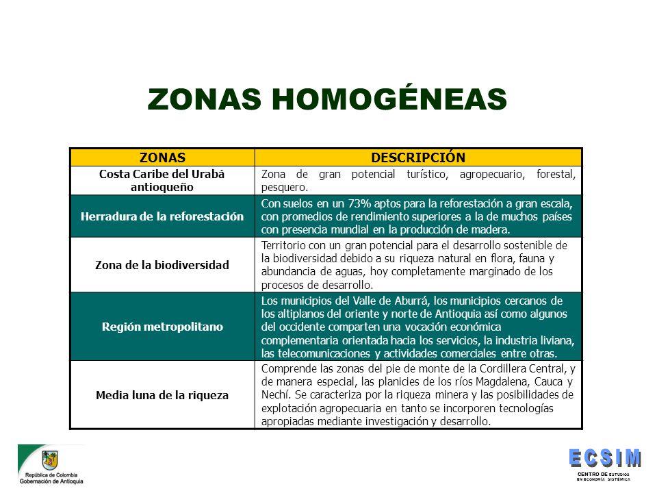 CENTRO DE ESTUDIOS EN ECONOMÍA SISTÉMICA ZONAS HOMOGÉNEAS ZONASDESCRIPCIÓN Costa Caribe del Urabá antioqueño Zona de gran potencial turístico, agropec