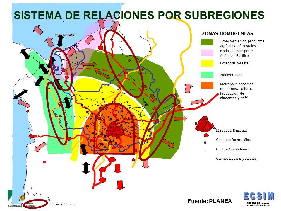 CENTRO DE ESTUDIOS EN ECONOMÍA SISTÉMICA Sistemas Urbanos Transformación productos agrícolas y forestales Nodo de transporte Atlántico Pacífico.º.....