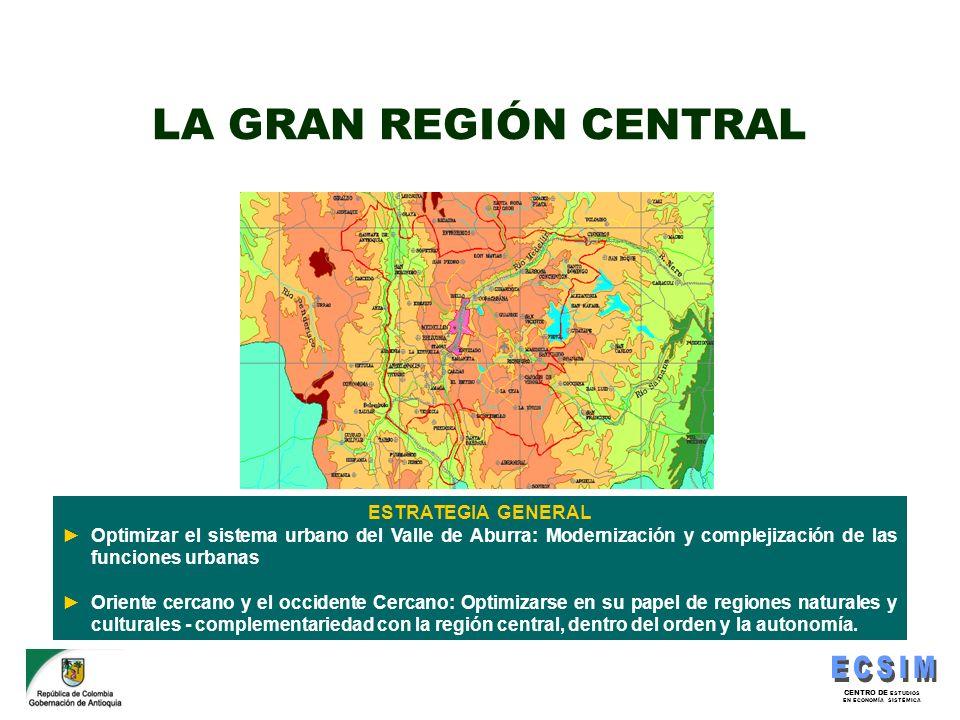 CENTRO DE ESTUDIOS EN ECONOMÍA SISTÉMICA ESTRATEGIA GENERAL Optimizar el sistema urbano del Valle de Aburra: Modernización y complejización de las fun