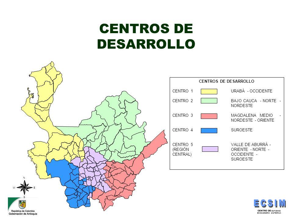 CENTRO DE ESTUDIOS EN ECONOMÍA SISTÉMICA CENTROS DE DESARROLLO CENTRO 1 URABÁ - OCCIDENTE CENTRO 2 BAJO CAUCA - NORTE - NORDESTE CENTRO 3 MAGDALENA ME