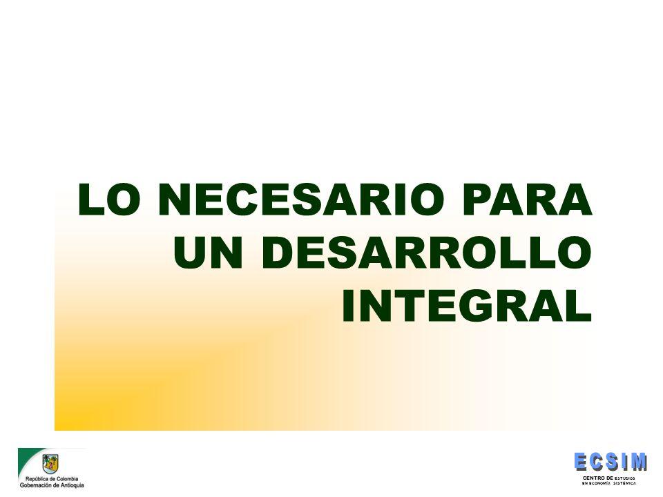 CENTRO DE ESTUDIOS EN ECONOMÍA SISTÉMICA LO NECESARIO PARA UN DESARROLLO INTEGRAL