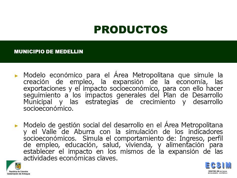 CENTRO DE ESTUDIOS EN ECONOMÍA SISTÉMICA PRODUCTOS Modelo econ ó mico para el Á rea Metropolitana que simule la creaci ó n de empleo, la expansi ó n d