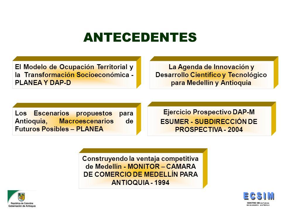 CENTRO DE ESTUDIOS EN ECONOMÍA SISTÉMICA ANTECEDENTES El Modelo de Ocupación Territorial y la Transformación Socioeconómica - PLANEA Y DAP-D Los Escen