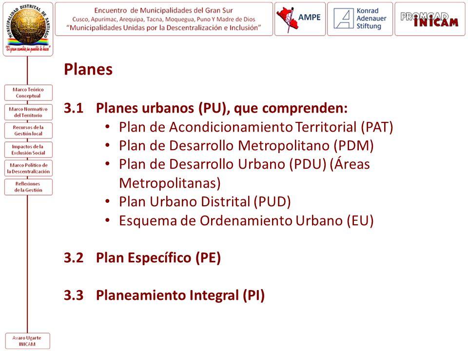 Planes 3.1 Planes urbanos (PU), que comprenden: Plan de Acondicionamiento Territorial (PAT) Plan de Desarrollo Metropolitano (PDM) Plan de Desarrollo