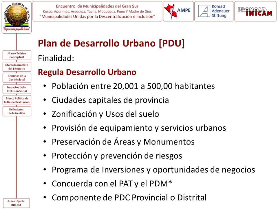Plan de Desarrollo Urbano [PDU] Finalidad: Regula Desarrollo Urbano Población entre 20,001 a 500,00 habitantes Ciudades capitales de provincia Zonific
