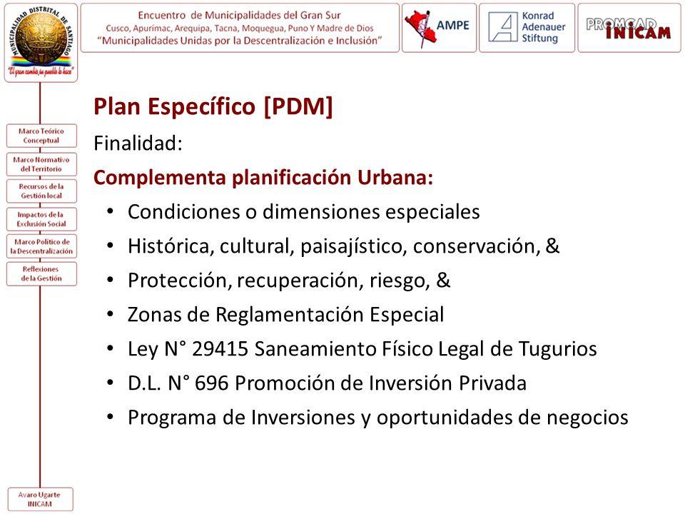 Plan Específico [PDM] Finalidad: Complementa planificación Urbana: Condiciones o dimensiones especiales Histórica, cultural, paisajístico, conservació