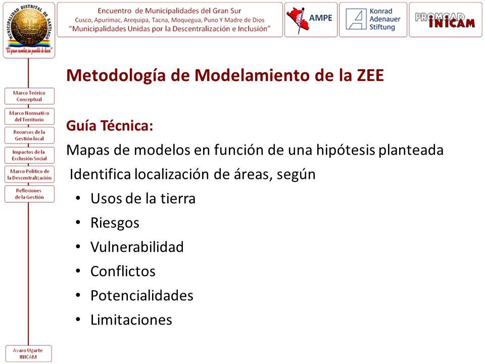 Metodología de Modelamiento de la ZEE Guía Técnica: Mapas de modelos en función de una hipótesis planteada Identifica localización de áreas, según Uso