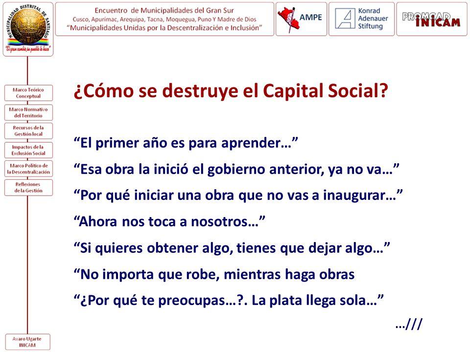 ¿Cómo se destruye el Capital Social? El primer año es para aprender… Esa obra la inició el gobierno anterior, ya no va… Por qué iniciar una obra que n