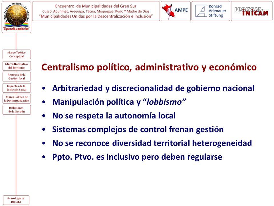 Centralismo político, administrativo y económico Arbitrariedad y discrecionalidad de gobierno nacional Manipulación política y lobbismo No se respeta