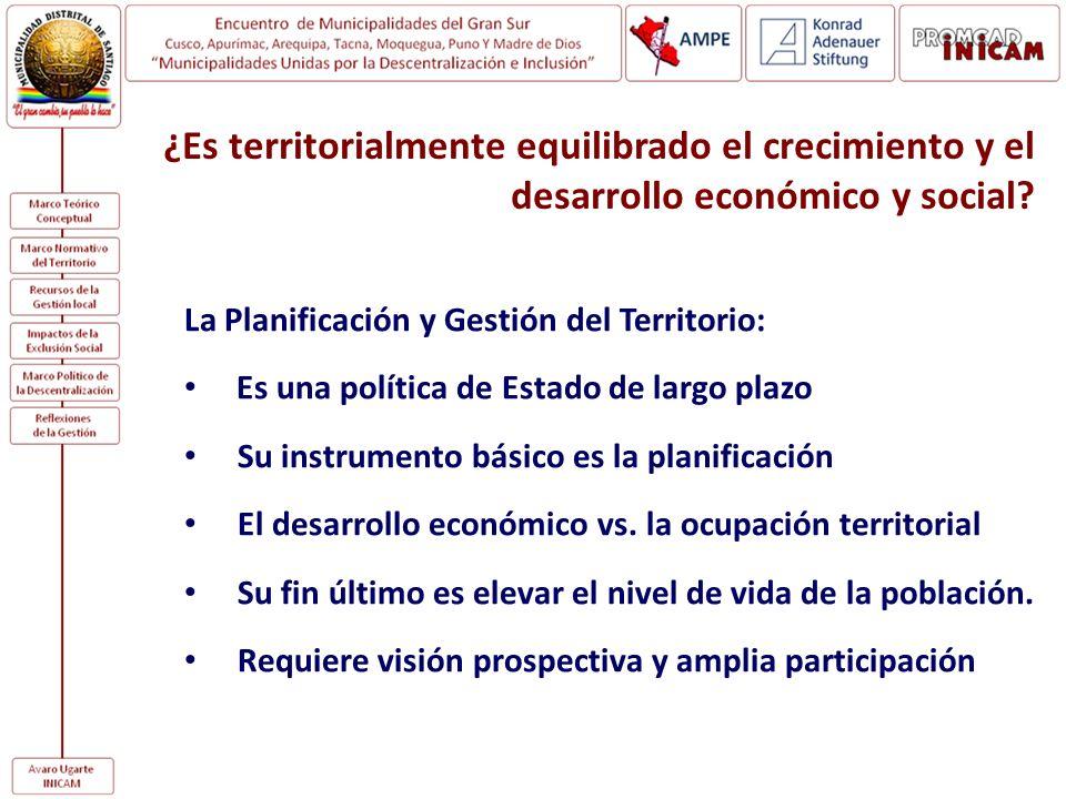 ¿Es territorialmente equilibrado el crecimiento y el desarrollo económico y social? La Planificación y Gestión del Territorio: Es una política de Esta