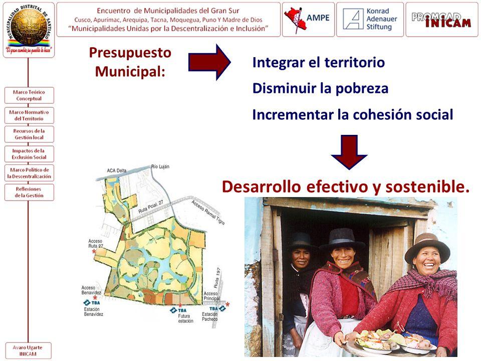 Presupuesto Municipal: Integrar el territorio Disminuir la pobreza Incrementar la cohesión social Desarrollo efectivo y sostenible.