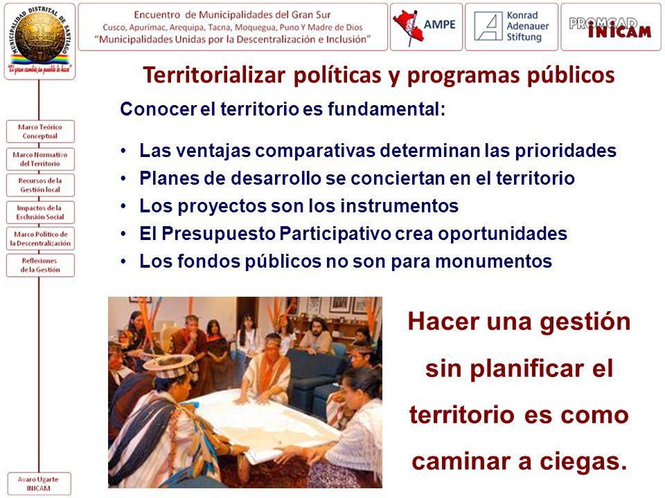 Conocer el territorio es fundamental: Las ventajas comparativas determinan las prioridades Planes de desarrollo se conciertan en el territorio Los pro