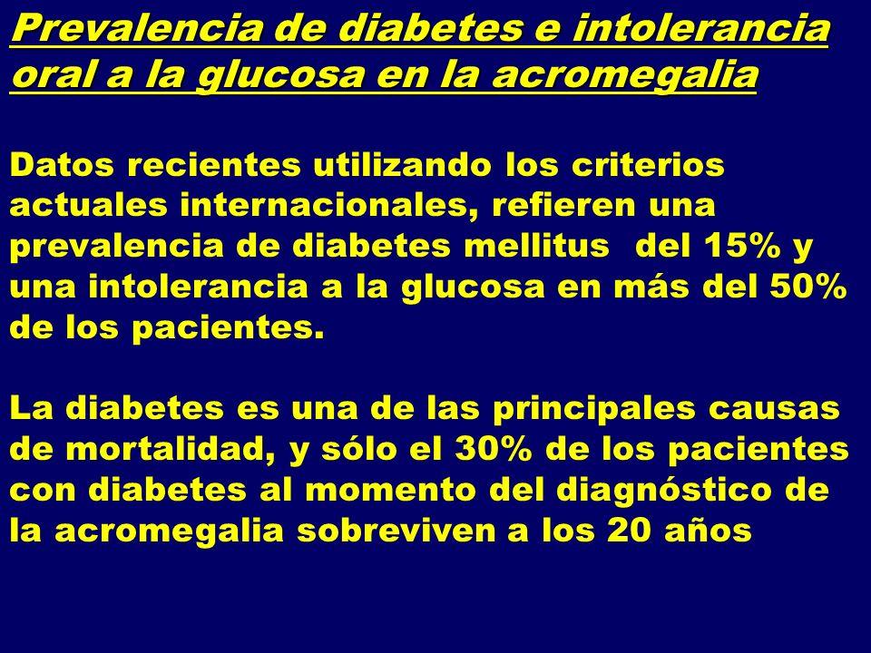Prevalencia de diabetes e intolerancia oral a la glucosa en la acromegalia Datos recientes utilizando los criterios actuales internacionales, refieren