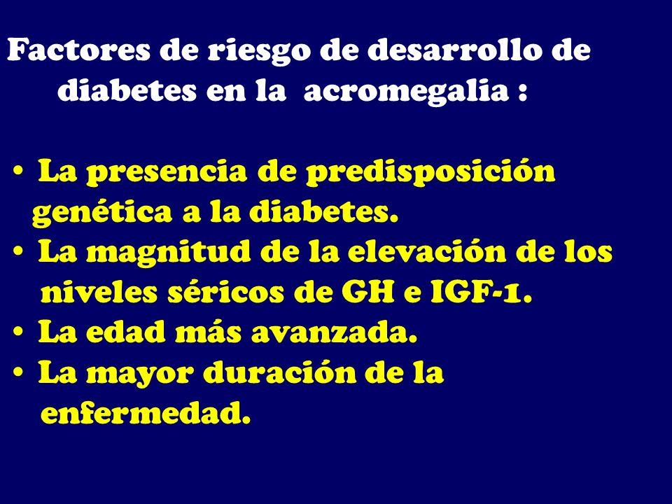 Factores de riesgo de desarrollo de diabetes en la acromegalia : La presencia de predisposición genética a la diabetes. La magnitud de la elevación de