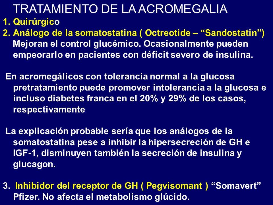 TRATAMIENTO DE LA ACROMEGALIA 1.Quirúrgico 2.Análogo de la somatostatina ( Octreotide – Sandostatin) Mejoran el control glucémico. Ocasionalmente pued