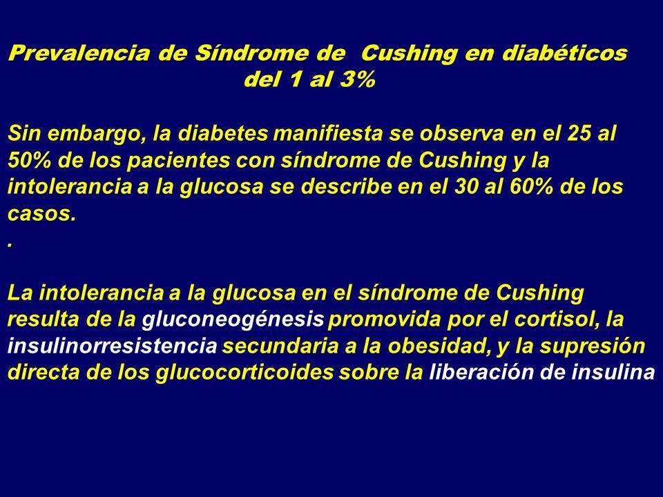 Prevalencia de Síndrome de Cushing en diabéticos del 1 al 3% Sin embargo, la diabetes manifiesta se observa en el 25 al 50% de los pacientes con síndr