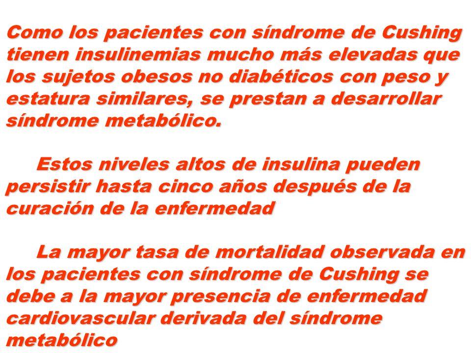 Como los pacientes con síndrome de Cushing tienen insulinemias mucho más elevadas que los sujetos obesos no diabéticos con peso y estatura similares,