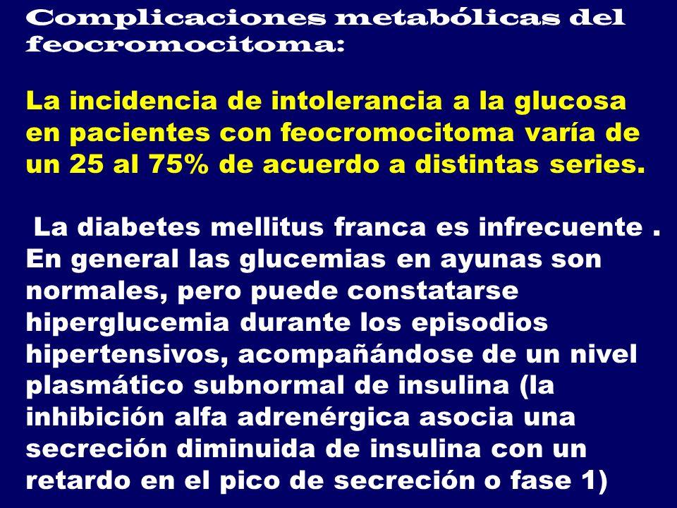 Complicaciones metabólicas del feocromocitoma: La incidencia de intolerancia a la glucosa en pacientes con feocromocitoma varía de un 25 al 75% de acu