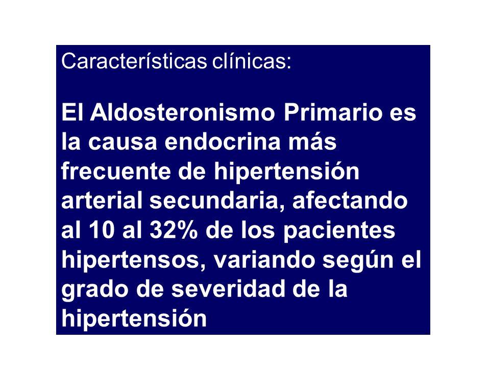 Características clínicas: El Aldosteronismo Primario es la causa endocrina más frecuente de hipertensión arterial secundaria, afectando al 10 al 32% d