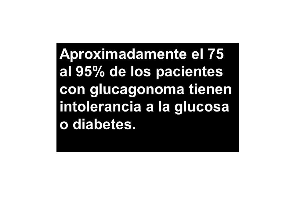 Aproximadamente el 75 al 95% de los pacientes con glucagonoma tienen intolerancia a la glucosa o diabetes.