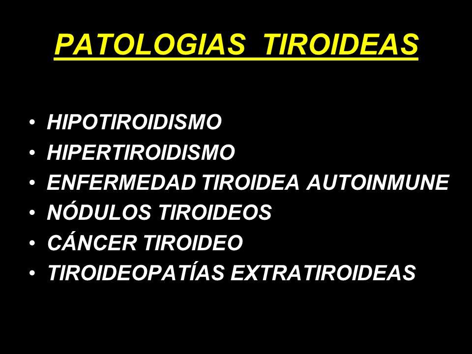 PATOLOGIAS TIROIDEAS HIPOTIROIDISMO HIPERTIROIDISMO ENFERMEDAD TIROIDEA AUTOINMUNE NÓDULOS TIROIDEOS CÁNCER TIROIDEO TIROIDEOPATÍAS EXTRATIROIDEAS