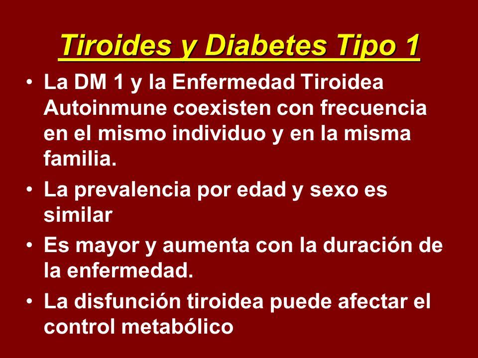 Tiroides y Diabetes Tipo 1 La DM 1 y la Enfermedad Tiroidea Autoinmune coexisten con frecuencia en el mismo individuo y en la misma familia. La preval