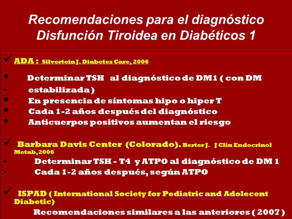 Recomendaciones para el diagnóstico Disfunción Tiroidea en Diabéticos 1 ADA : Silvertein J. Diabetes Care, 2006 Determinar TSH al diagnóstico de DM1 (