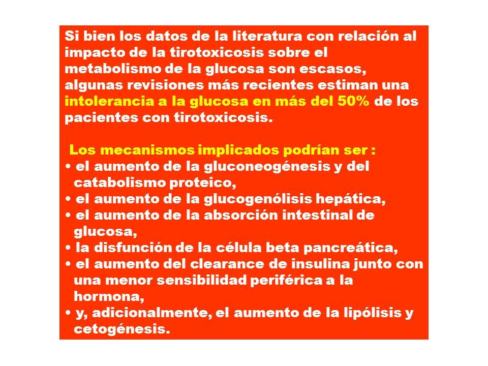 Si bien los datos de la literatura con relación al impacto de la tirotoxicosis sobre el metabolismo de la glucosa son escasos, algunas revisiones más
