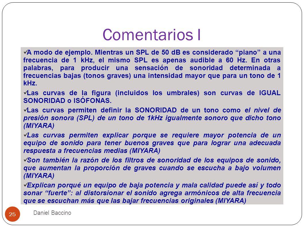Comentarios I Daniel Baccino 25 A modo de ejemplo. Mientras un SPL de 50 dB es considerado piano a una frecuencia de 1 kHz, el mismo SPL es apenas aud