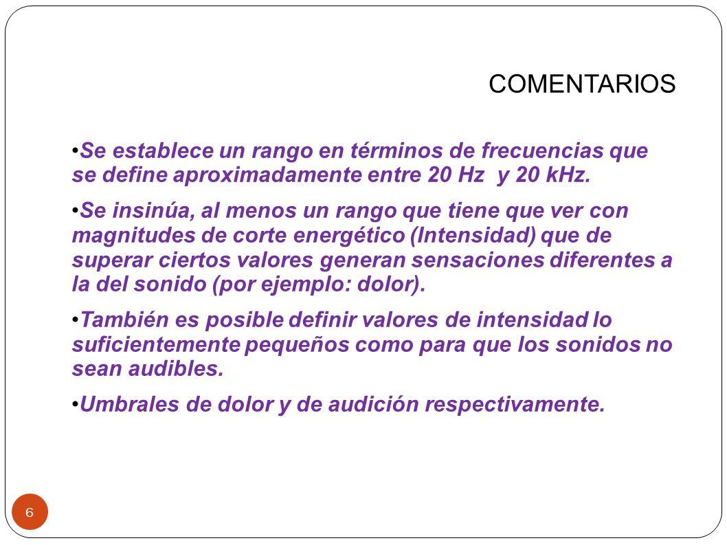 NIVEL de INTENSIDAD SONORA 17 Esta nueva magnitud deberá cumplir simultáneamente con tres objetivos: 1) comprimir el rango de intensidades audibles en un rango de valores mucho más pequeño; 2) reemplazar el uso de valores absolutos por valores relativos (por ejemplo, relativos al umbral de audición); y 3) permitir la introducción de una unidad más conveniente, cuyo valor sea del orden del mínimo cambio perceptible en intensidad sonora.
