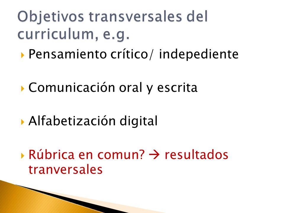 Pensamiento crítico/ indepediente Comunicación oral y escrita Alfabetización digital Rúbrica en comun.
