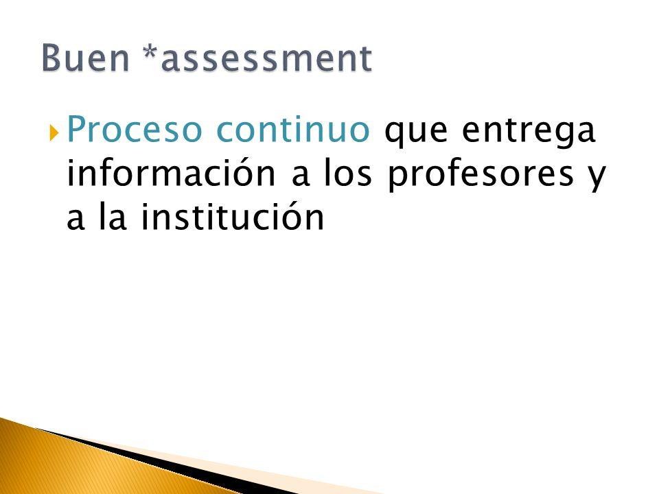 Proceso continuo que entrega información a los profesores y a la institución