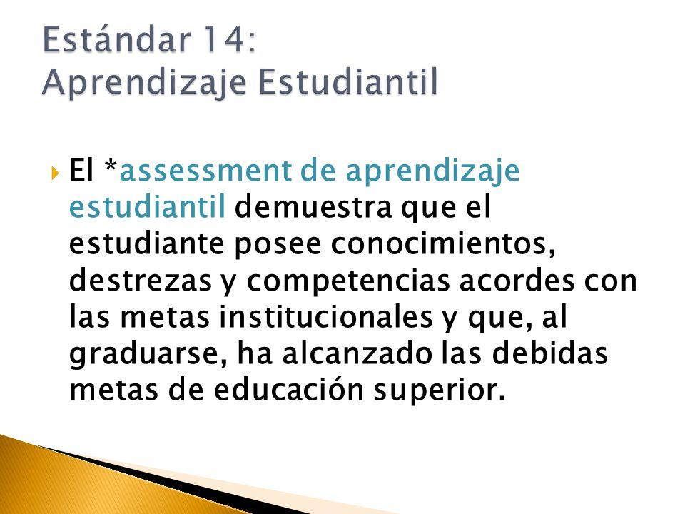 El *assessment de aprendizaje estudiantil demuestra que el estudiante posee conocimientos, destrezas y competencias acordes con las metas institucionales y que, al graduarse, ha alcanzado las debidas metas de educación superior.