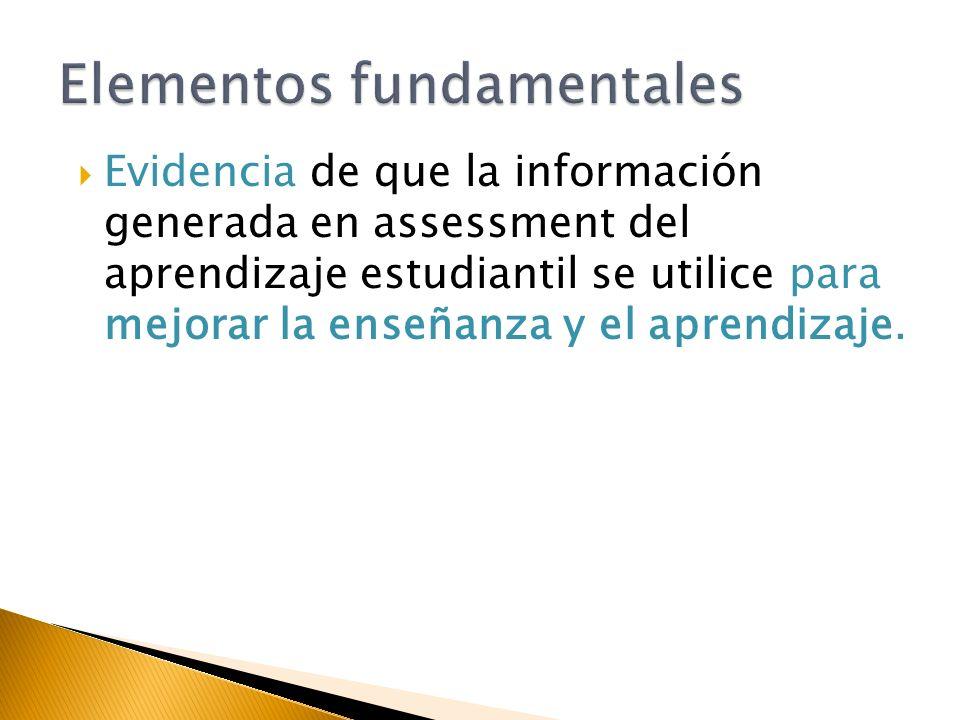 Evidencia de que la información generada en assessment del aprendizaje estudiantil se utilice para mejorar la enseñanza y el aprendizaje.