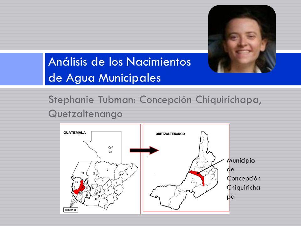 Stephanie Tubman: Concepción Chiquirichapa, Quetzaltenango Análisis de los Nacimientos de Agua Municipales Municipio de Concepción Chiquiricha pa
