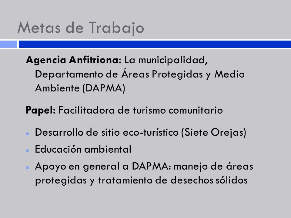 Metas de Trabajo Agencia Anfitriona: La municipalidad, Departamento de Áreas Protegidas y Medio Ambiente (DAPMA) Papel: Facilitadora de turismo comuni