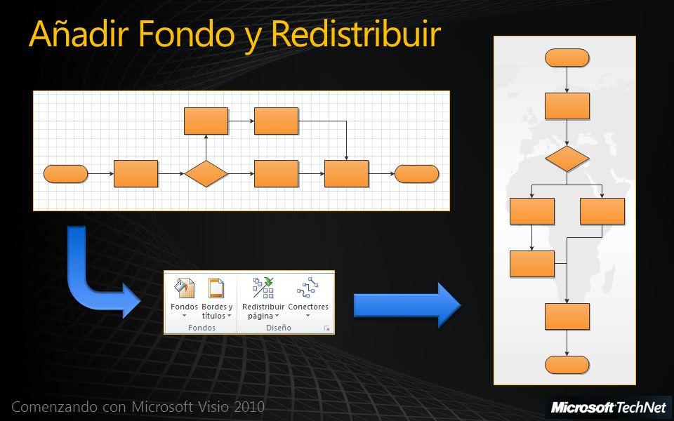 Comenzando con Microsoft Visio 2010 Añadir Fondo y Redistribuir