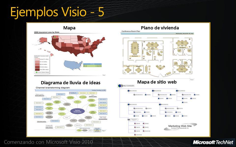 Comenzando con Microsoft Visio 2010 Ejemplos Visio - 5 MapaPlano de vivienda Diagrama de lluvia de ideas Mapa de sitio web