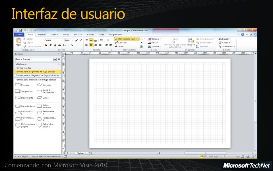 Comenzando con Microsoft Visio 2010 Interfaz de usuario