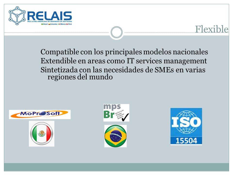 Flexible Compatible con los principales modelos nacionales Extendible en areas como IT services management Sintetizada con las necesidades de SMEs en