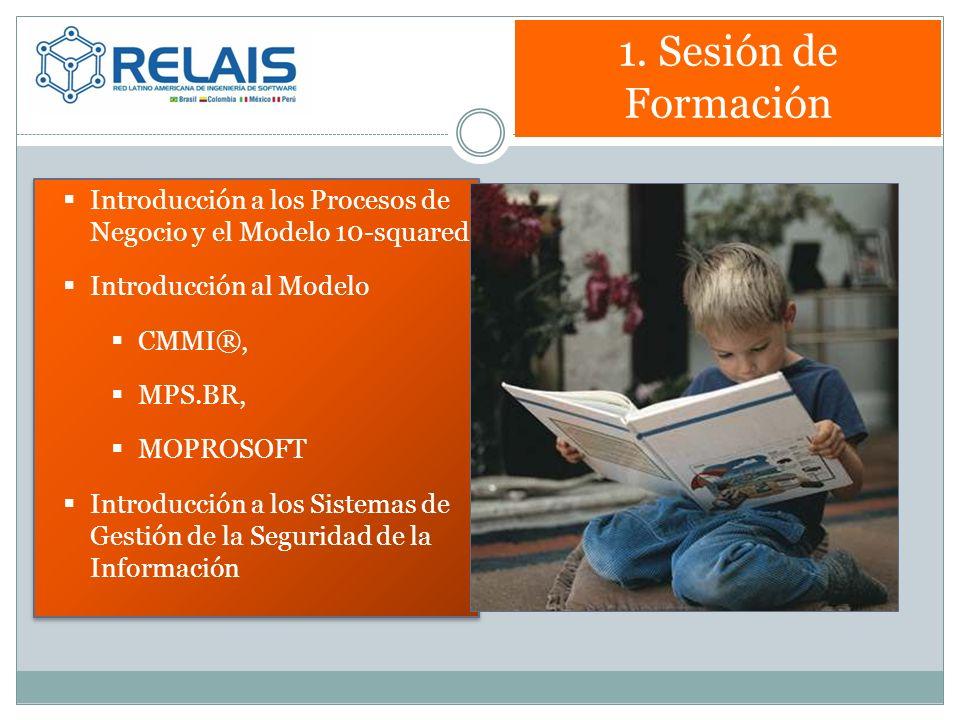 1. Sesión de Formación Introducción a los Procesos de Negocio y el Modelo 10-squared Introducción al Modelo CMMI®, MPS.BR, MOPROSOFT Introducción a lo