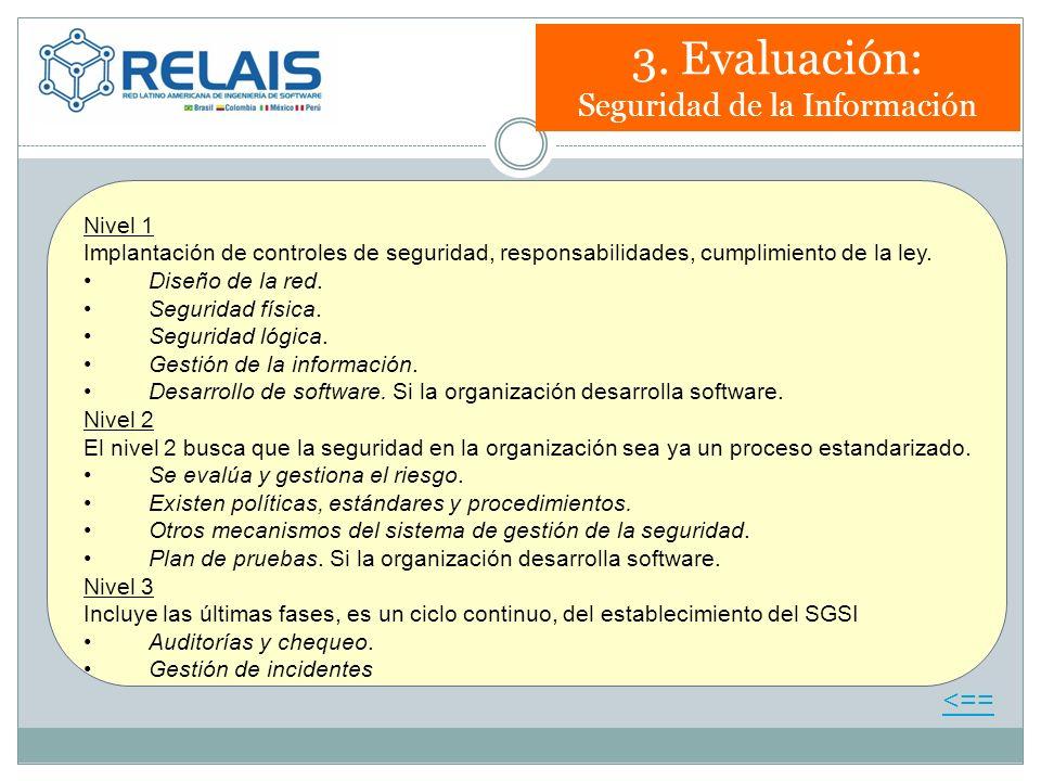 3. Evaluación: Seguridad de la Información Nivel 1 Implantación de controles de seguridad, responsabilidades, cumplimiento de la ley. Diseño de la red