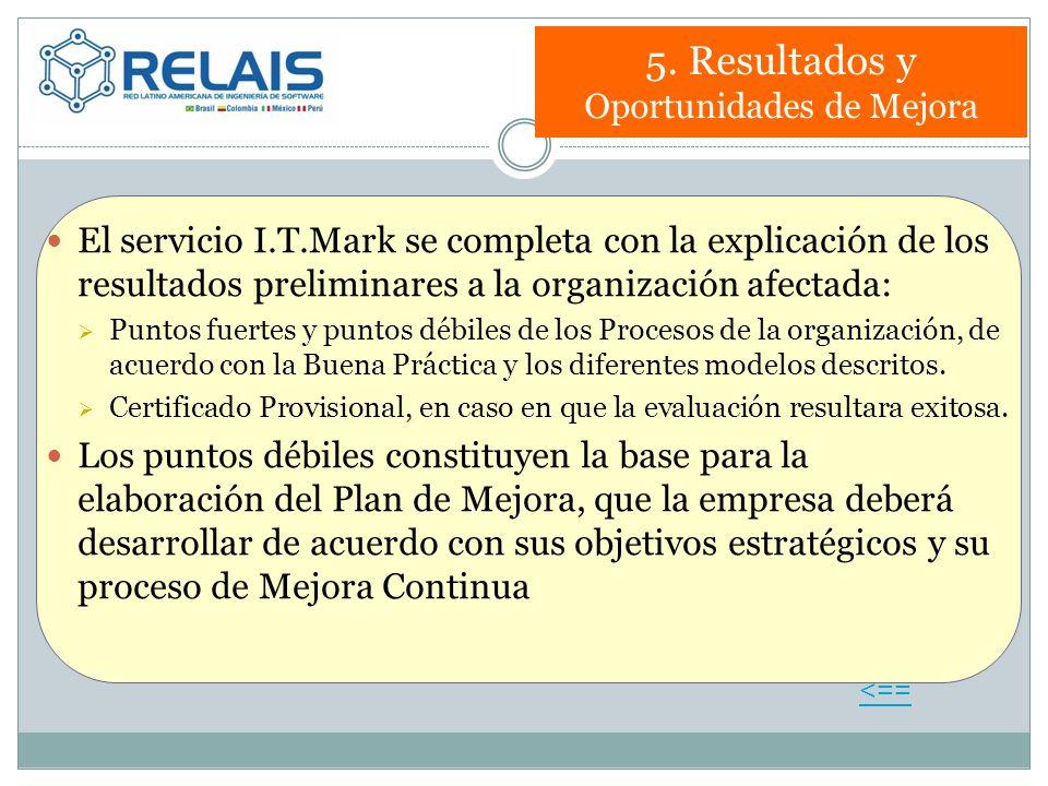 5. Resultados y Oportunidades de Mejora El servicio I.T.Mark se completa con la explicación de los resultados preliminares a la organización afectada: