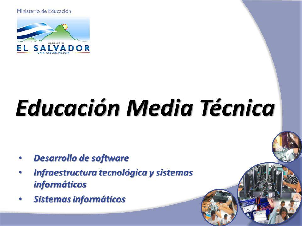 Educación Media Técnica Desarrollo de software Desarrollo de software Infraestructura tecnológica y sistemas informáticos Infraestructura tecnológica