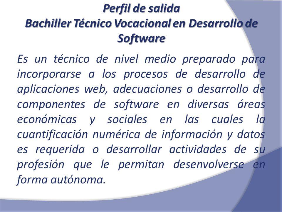 Perfil de salida Bachiller Técnico Vocacional en Desarrollo de Software Es un técnico de nivel medio preparado para incorporarse a los procesos de des
